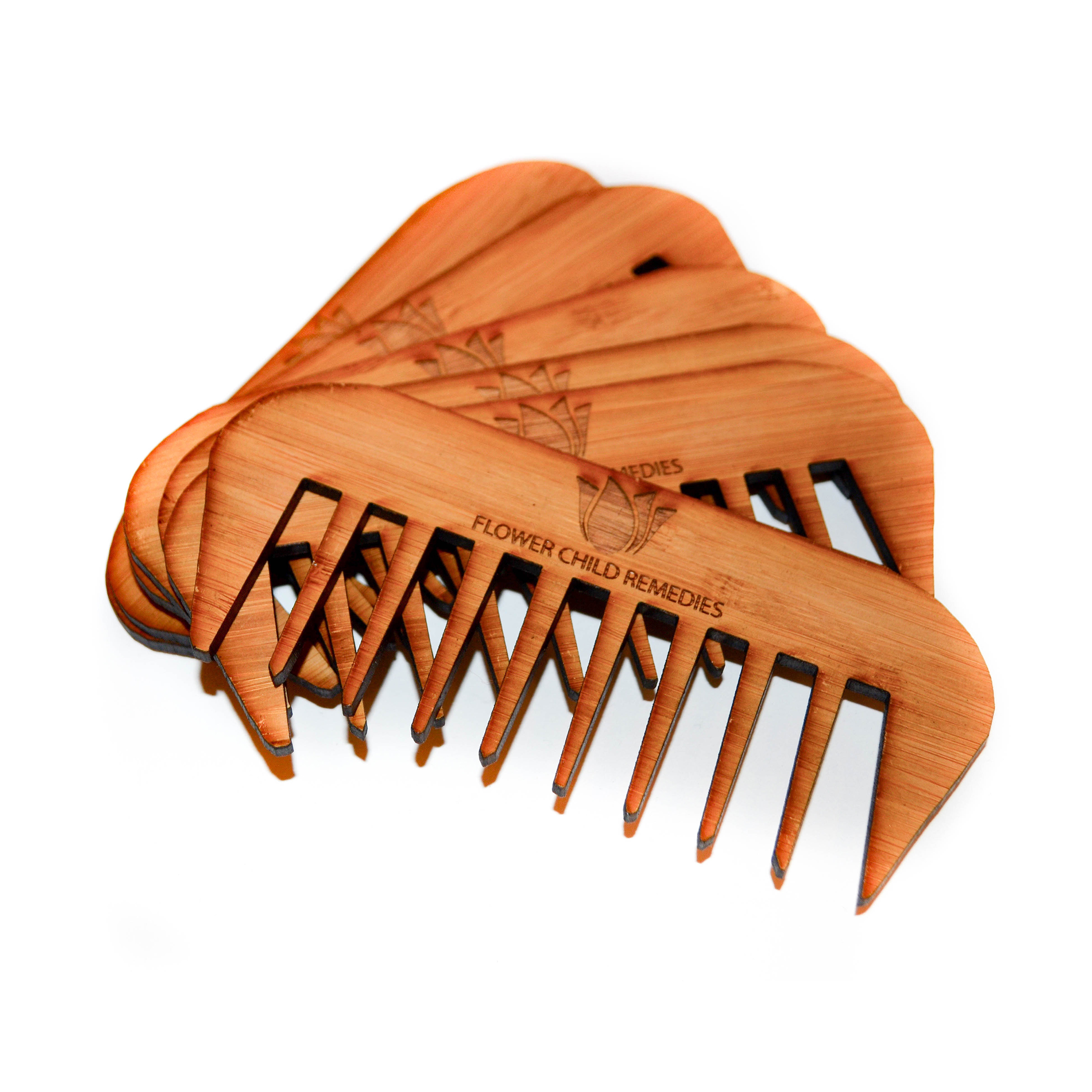 Natural Bamboo Wide Toothed Comb, Handcrafted with natural wood our Flower Child Remedies hair picks will detangle your hair and soothe your scalp.